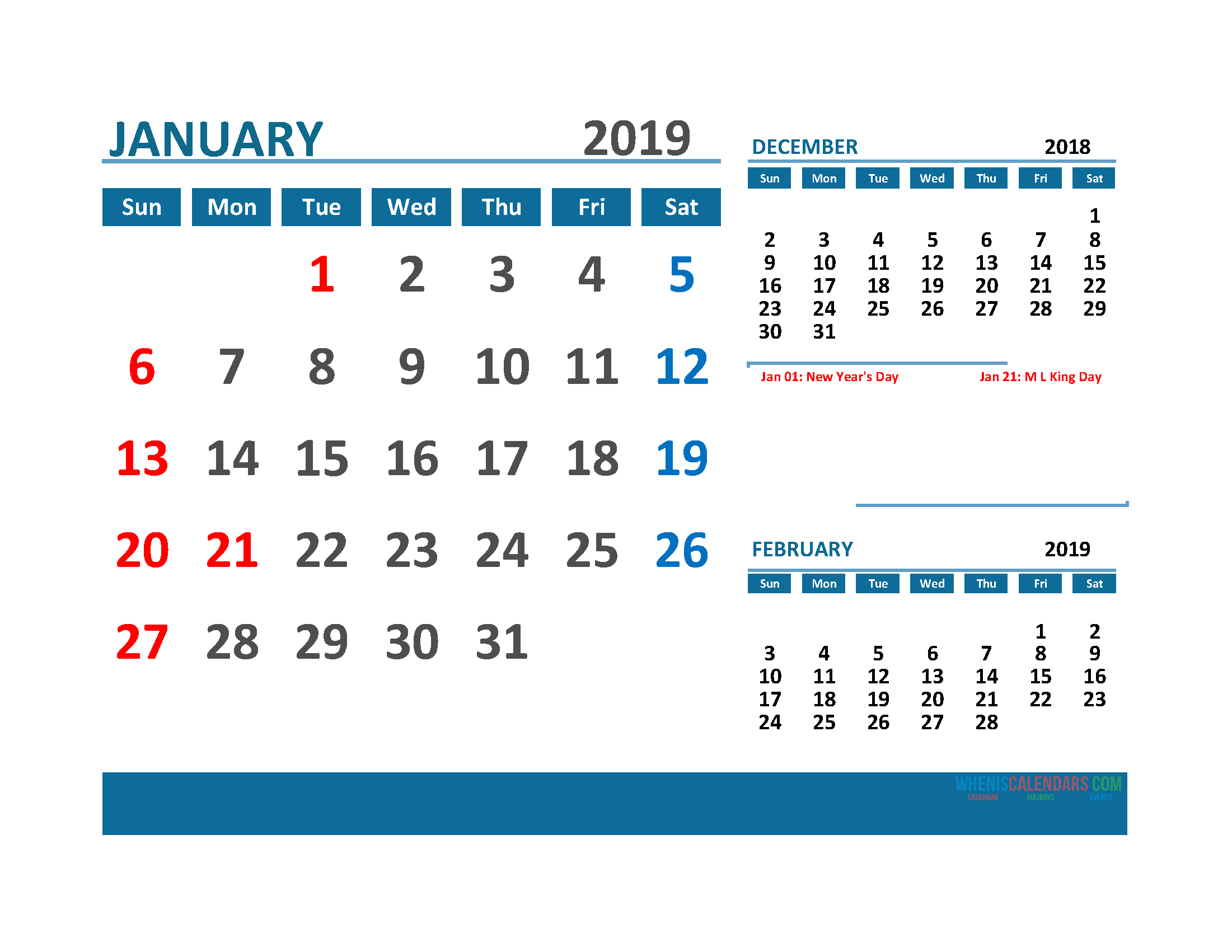 Printable 3 Month Calendar 2019 with Holidays [December 2018, January 2019 and February 2019 Calendar]