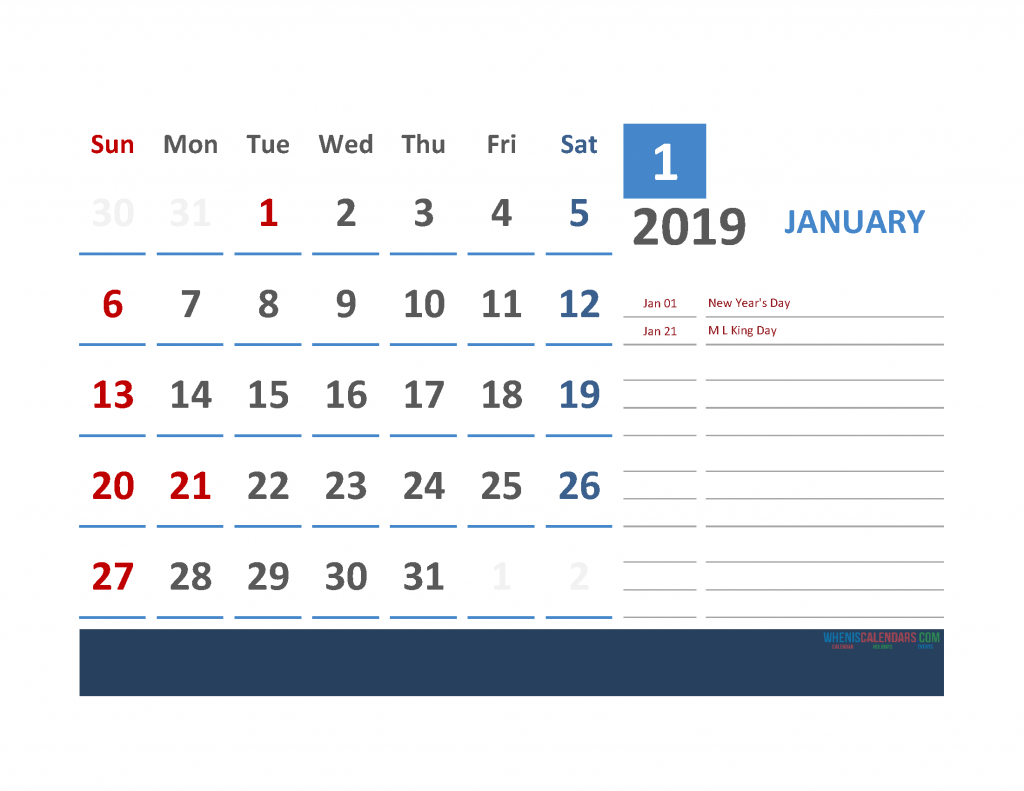 January 2019 Calendar with Holidays Printabe Monthly Calendar PDF, PNG