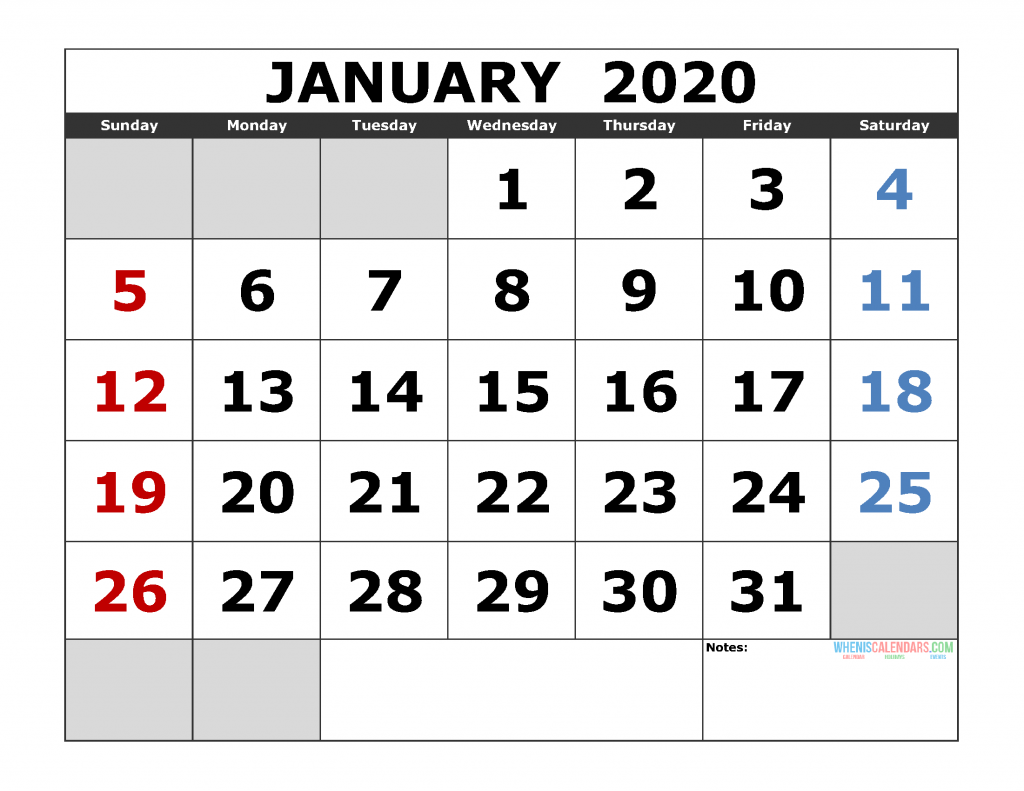 Free Printable Calendar 2020 Without Download