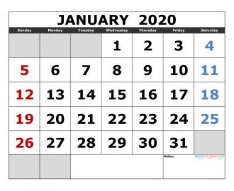 Free Printable Monthly Calendar 2020 Excel, PDF, Image [US ...