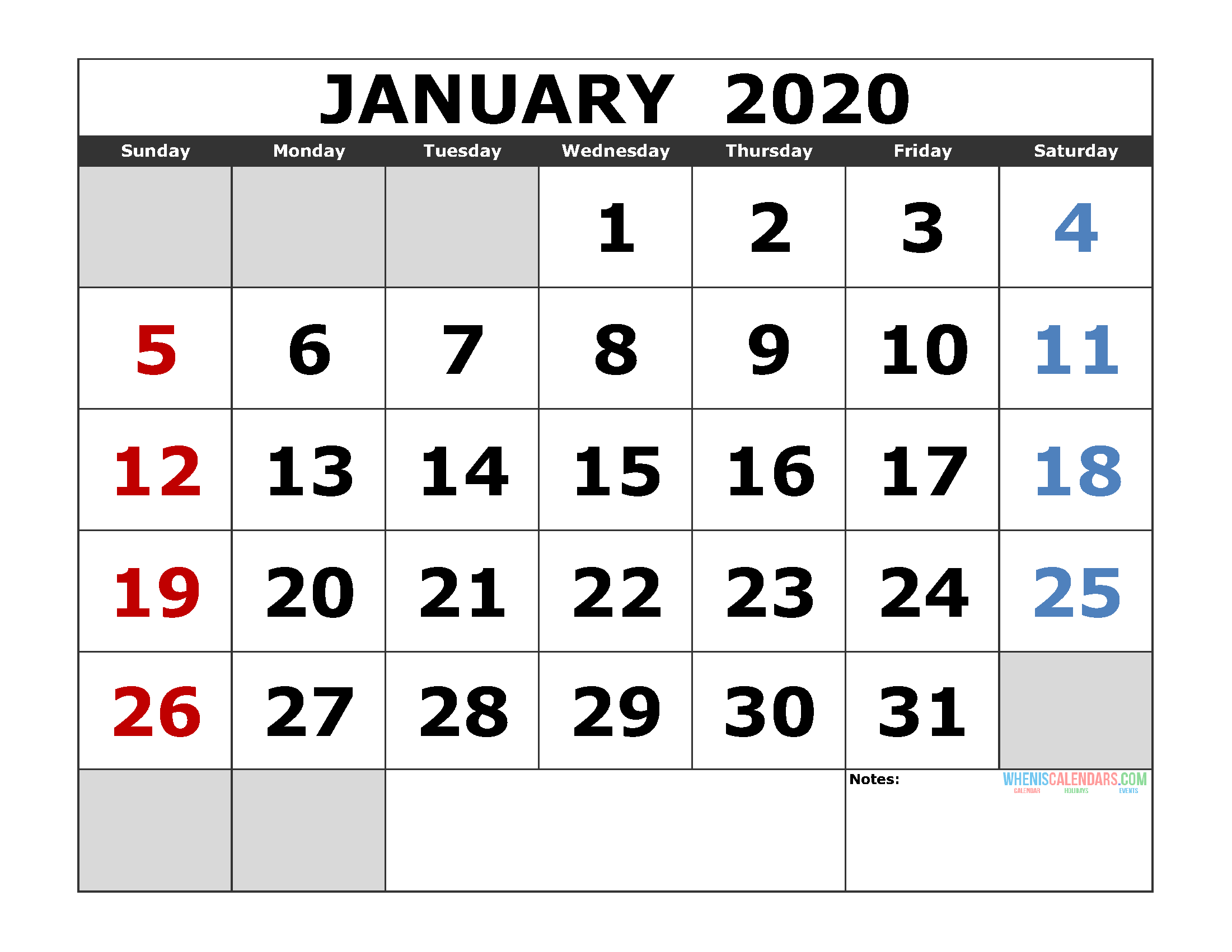 January 2020 Calendar Template.January 2020 Printable Calendar Template Excel Pdf Image Us