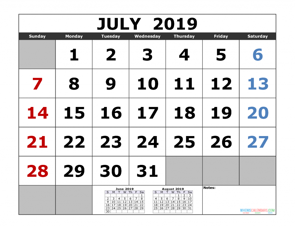 July 2019 Printable Calendar Template (June July August 2019 3 Month Calendar Template)