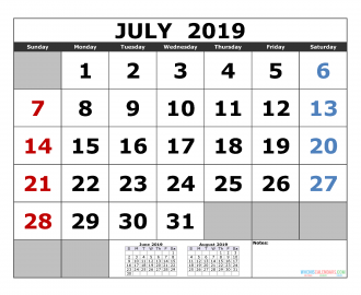 July 2019 Printable Calendar Template June July August 2019 3 Month Calendar Template