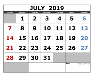Free july 2019 Printable Calendar Template US. Edition (the first of the week as Sunday)