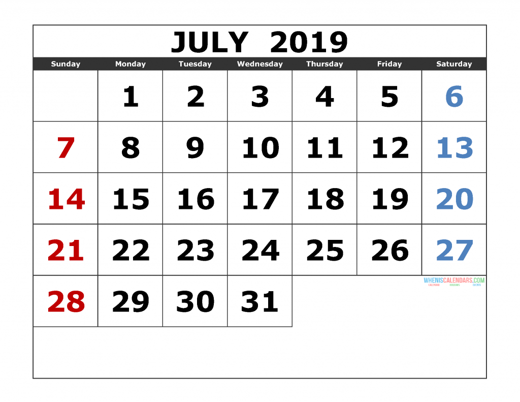 graphic relating to Printable Calendar July known as July 2019 Printable Calendar Templates [ 2019 Month to month