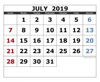 july 2019 Printable Calendar Templates 2019 Monthly Calendar