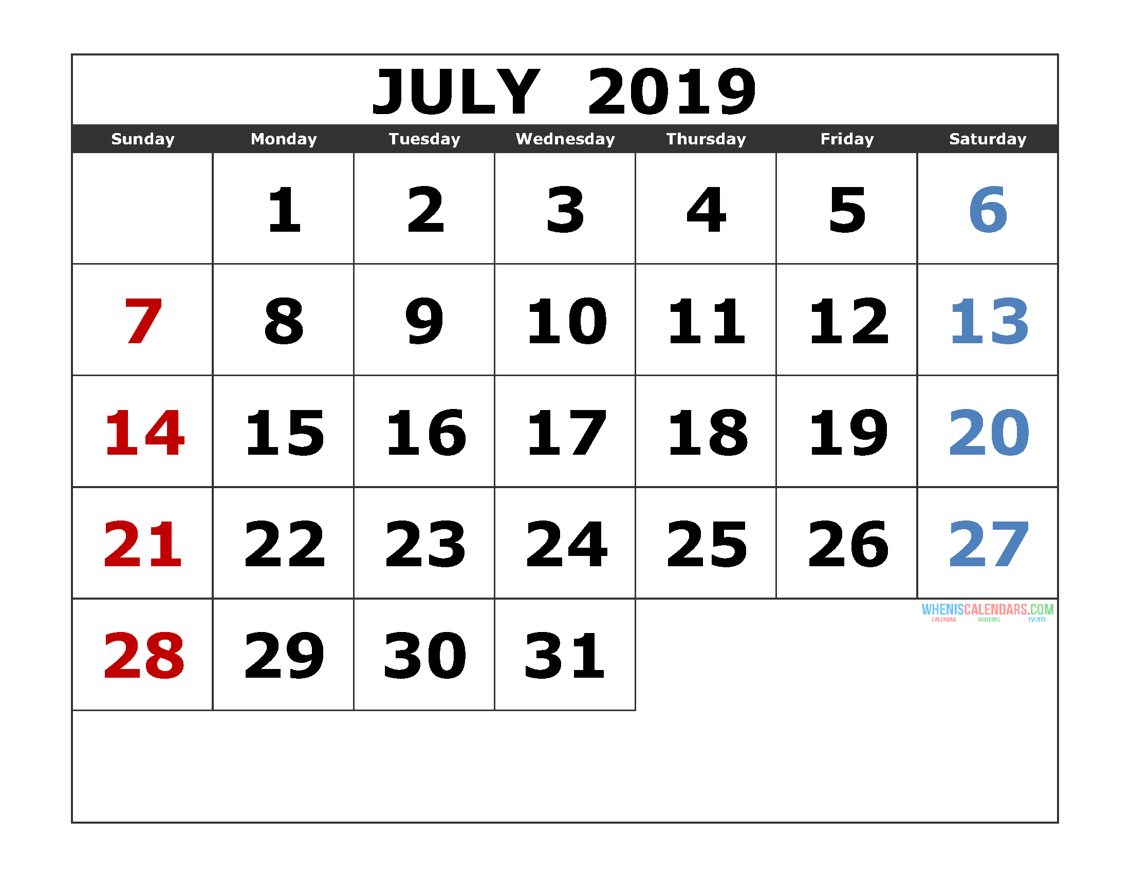 July 2019 Printable Calendar Template Excel, PDF, Image