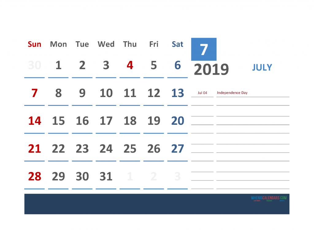 July 2019 Calendar with Holidays Printabe Monthly Calendar PDF, PNG