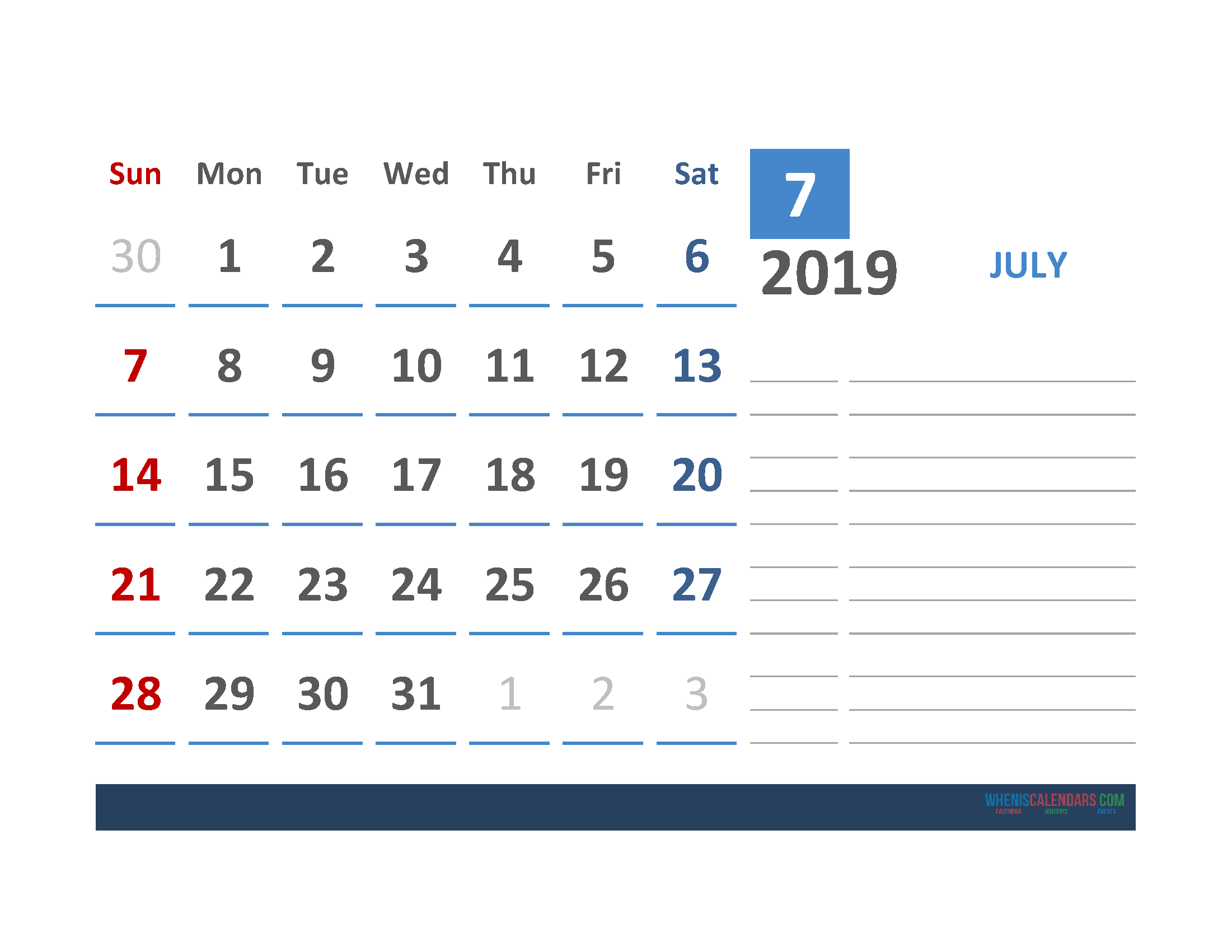 Free July 2019 Calendar Template With Space for Notes