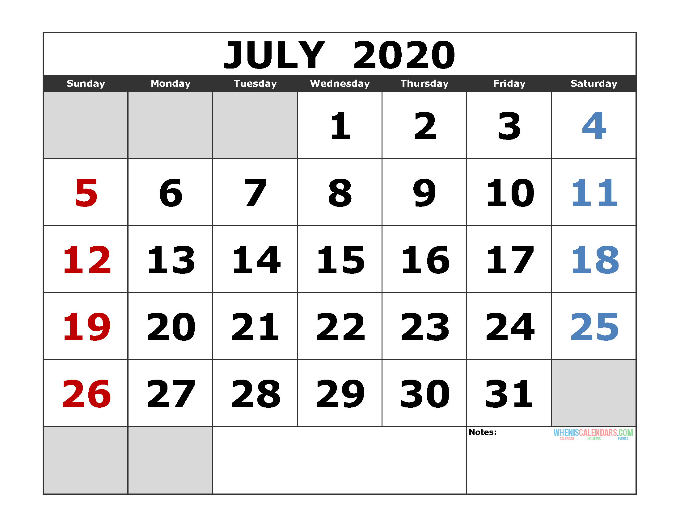 July Calendar 2020.July 2020 Printable Calendar Template Excel Pdf Image Us Edition
