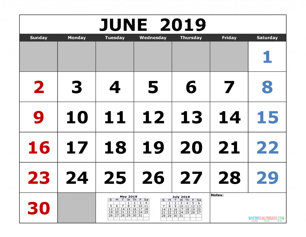 June 2019 Printable Calendar Template (May June July 2019 3 Month Calendar Template)