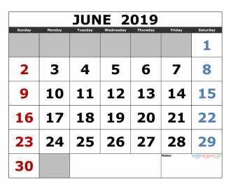 Free June 2019 Printable Calendar Template US. Edition (the first of the week as Sunday)