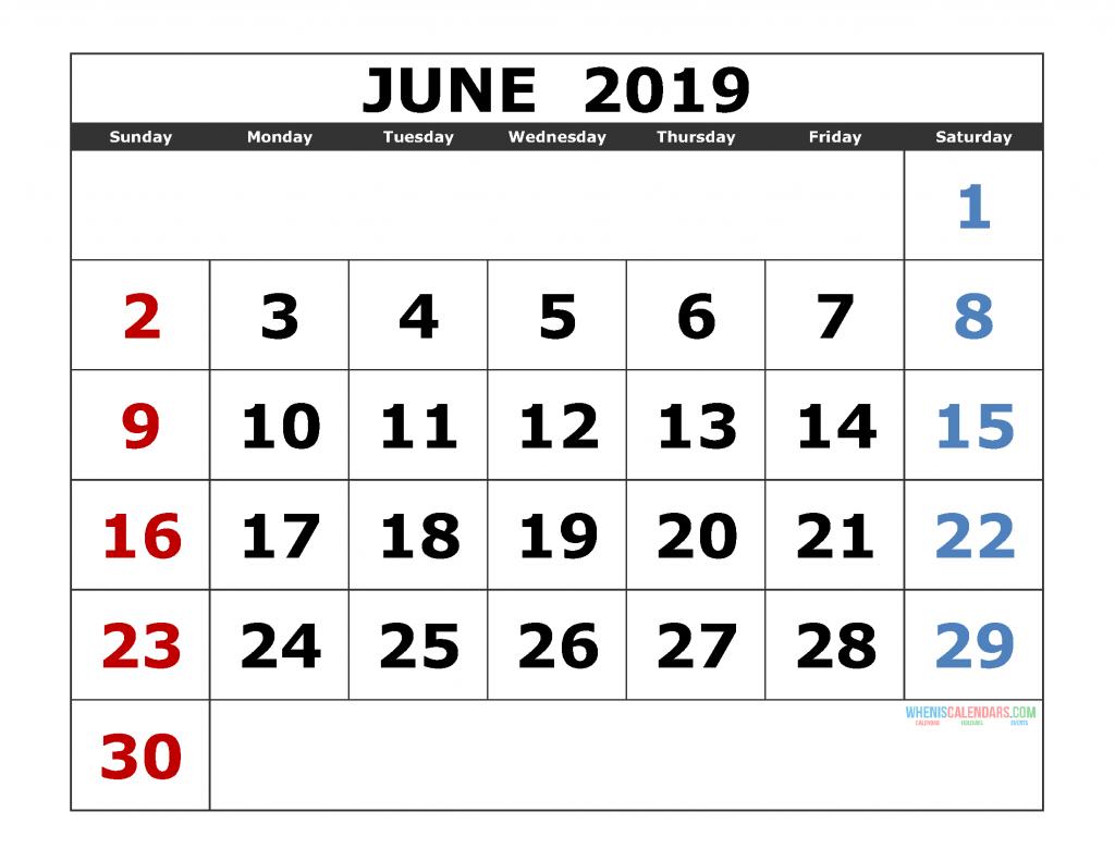 June 2019 Printable Calendar Template Excel, PDF, Image