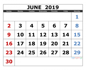 june 2019 Printable Calendar Templates 2019 Monthly Calendar