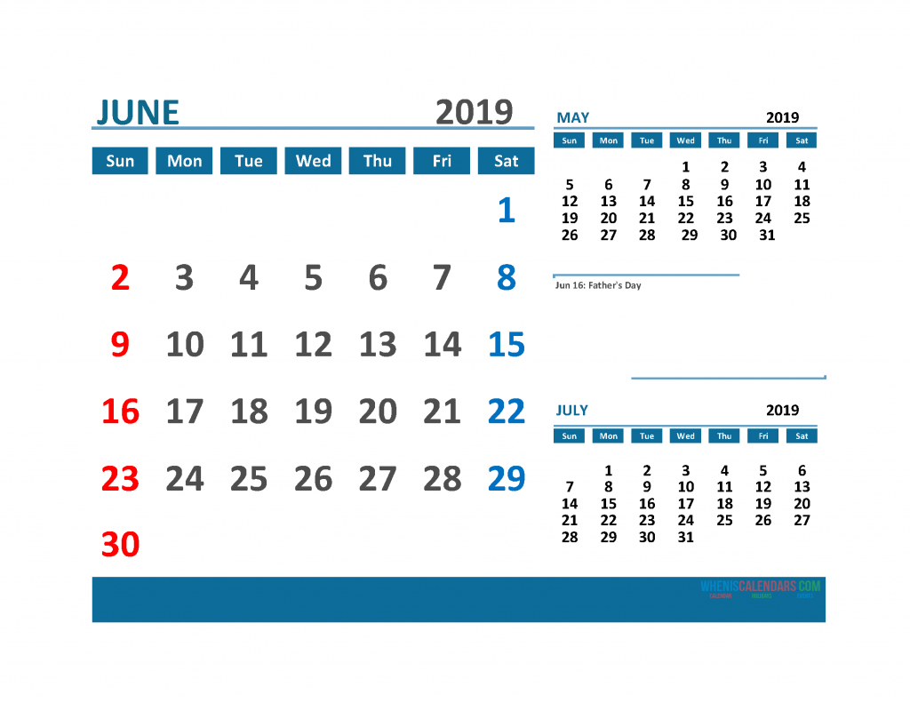Printable 3 Month Calendar 2019 with Holidays [ May, June, July 2019 Calendar]