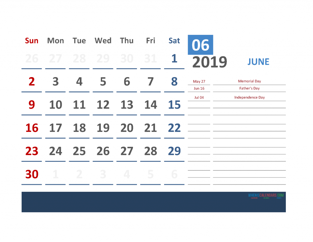 June 2019 Calendar with Holidays Printabe Monthly Calendar PDF, PNG