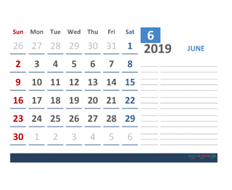 Free june 2019 Calendar Template With Space for Notes