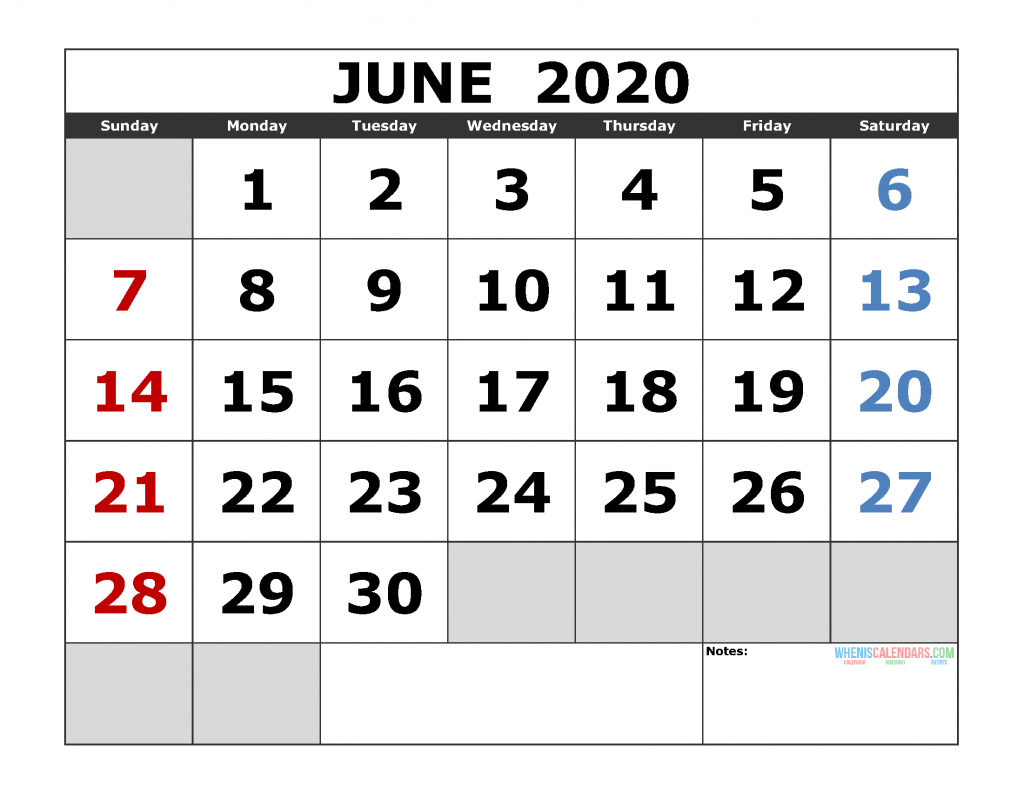 June 2020 Printable Calendar Template Excel Pdf Image Us Edition