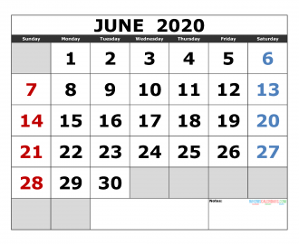 June 2020 Printable Calendar Templates 2020 Monthly Calendar