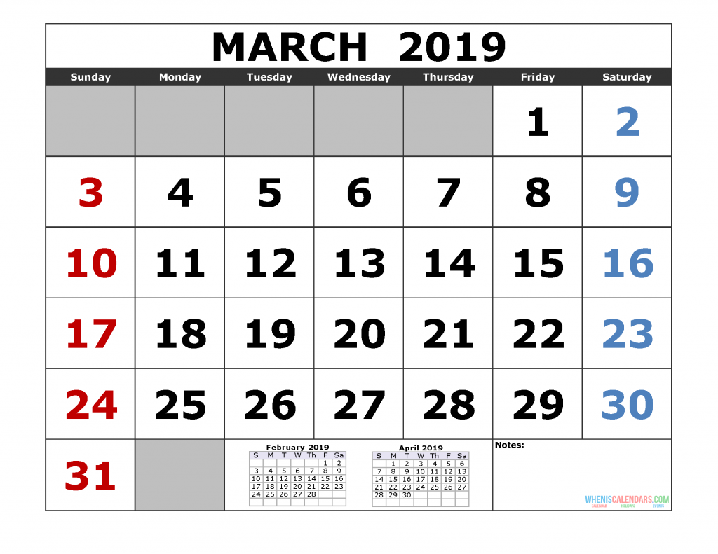 March 2019 Printable Calendar Template (February March April 2019 3 Month Calendar Template)