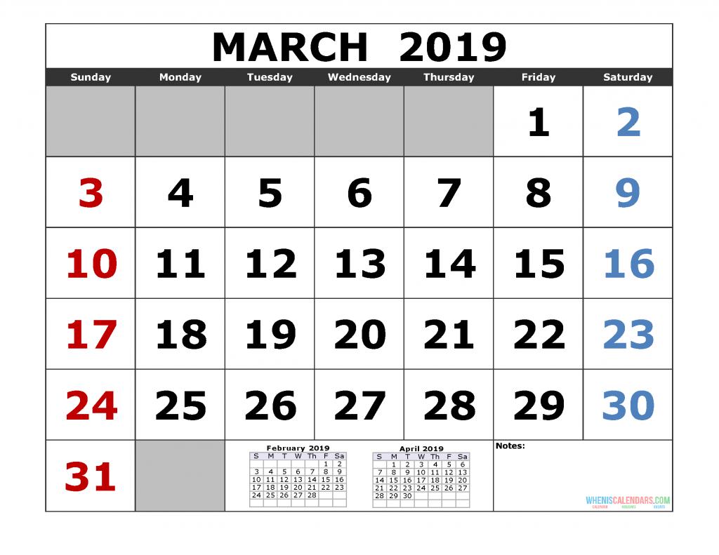 March 2019 Printable Calendar Template (February March April 2019 3 Month Calendar Template)