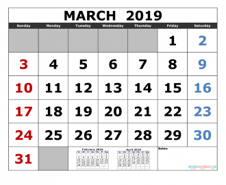march 2019 Printable Calendar Template February March April 2019 3 Month Calendar Template
