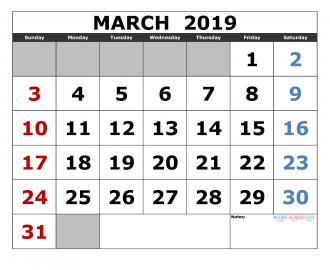 Free March 2019 Printable Calendar Template US. Edition (the first of the week as Sunday)