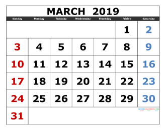 March 2019 Printable Calendar Templates 2019 Monthly Calendar