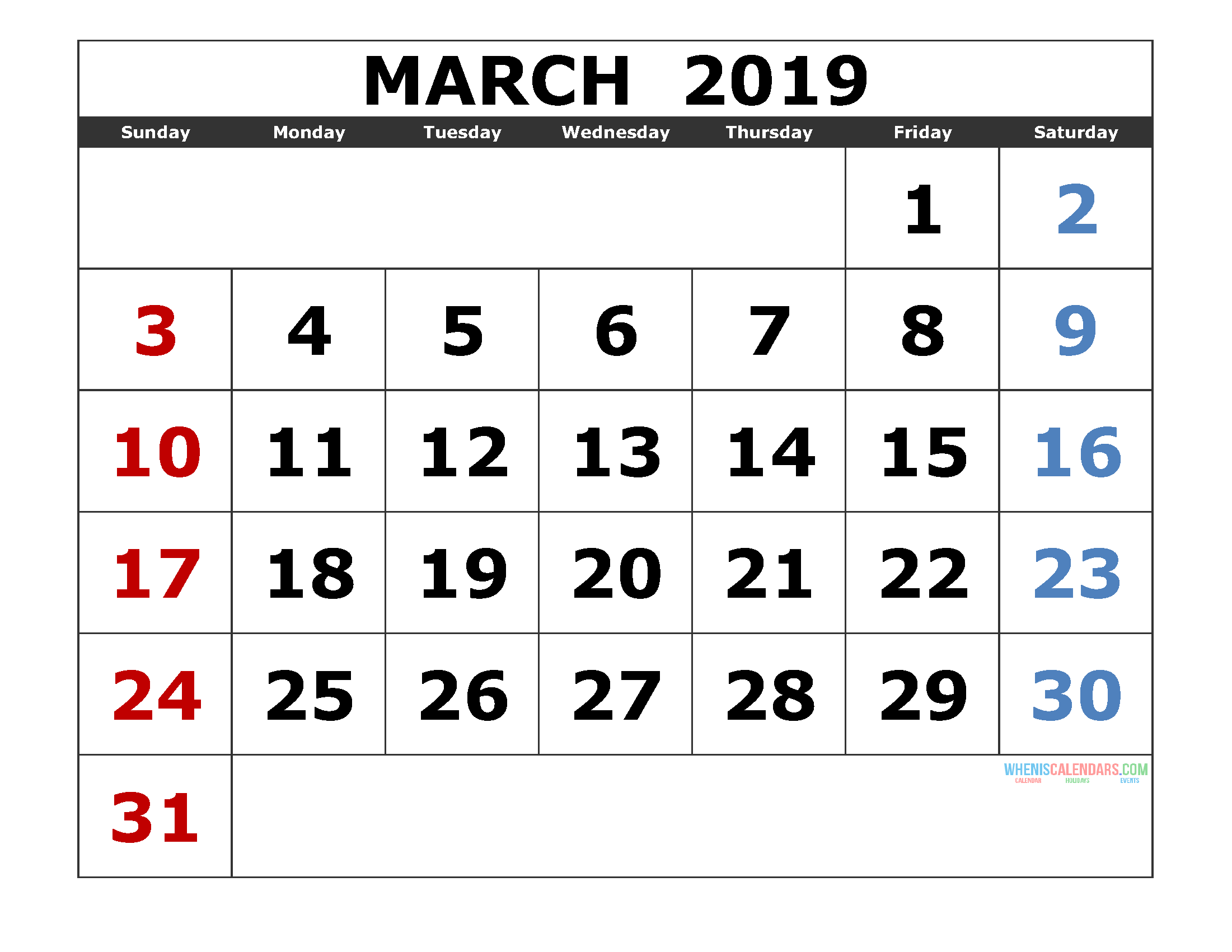 March 2019 Printable Calendar Template Excel, PDF, Image