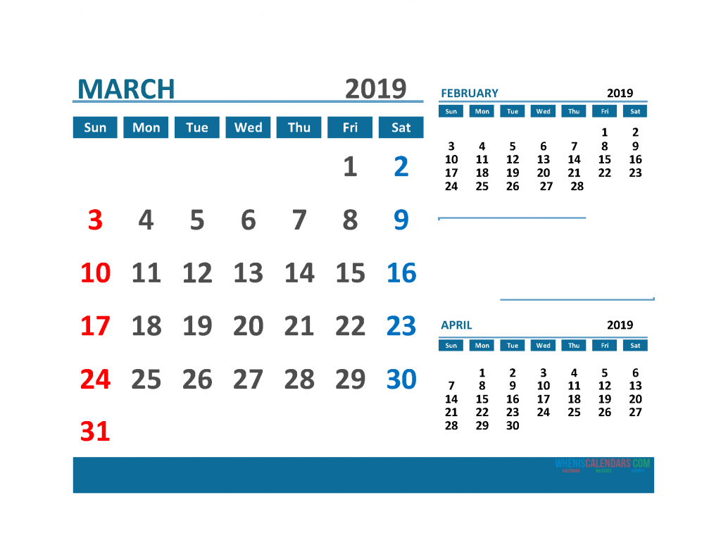 Printable 3 Month Calendar 2019 with Holidays [ February, March and April 2019 Calendar]