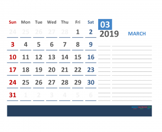 Printable Calendar March 2019 with Holidays 1 Month on 1 Page. 3 Month Calendar March 2019