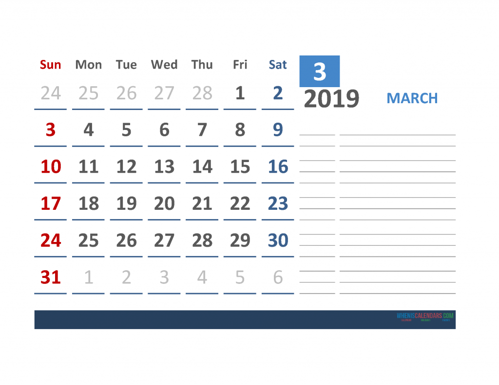 Free March 2019 Calendar Template With Space for Notes