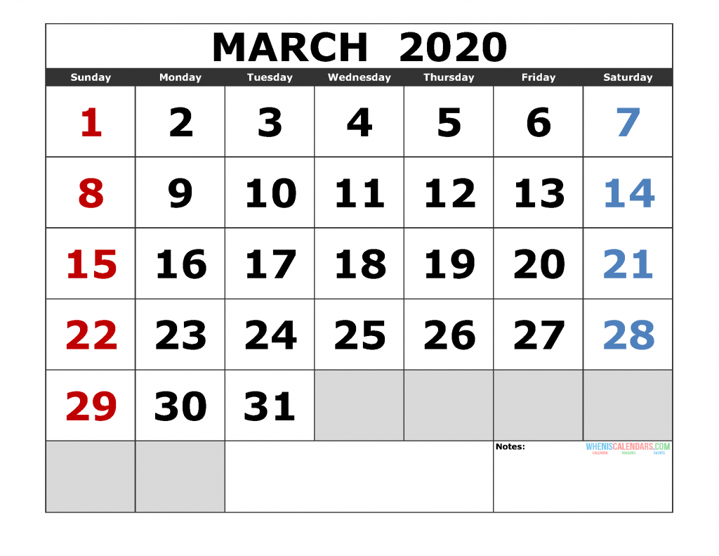 March 2020 Printable Calendar Templates 2020 Monthly Calendar