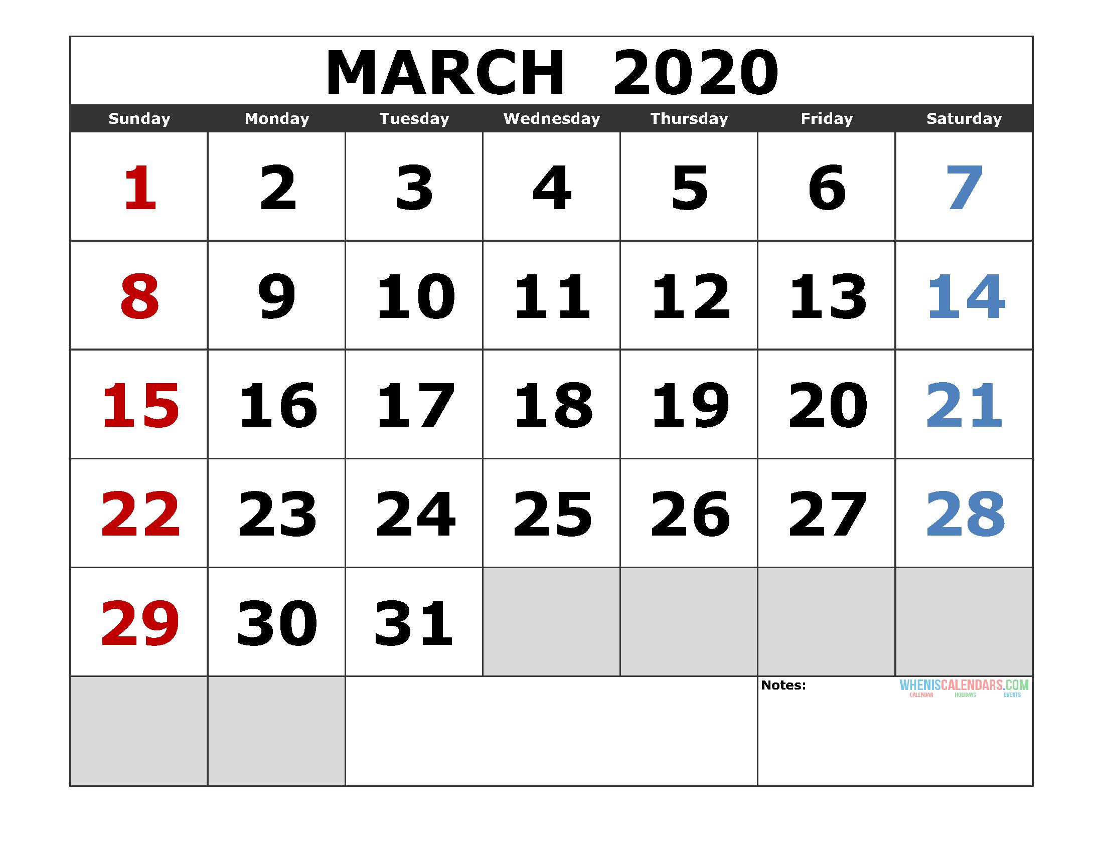 March 2020 Printable Calendar Templates 2020 Monthly Calendar