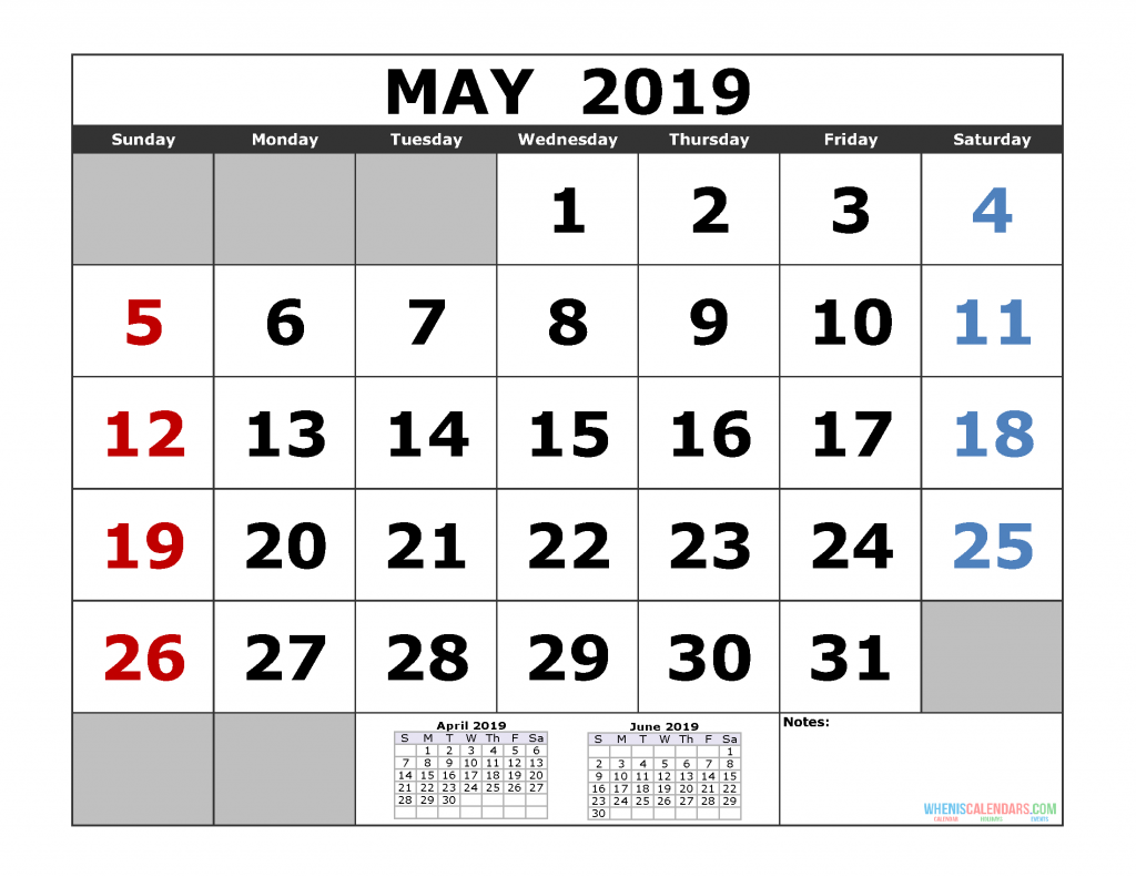 May 2019 Printable Calendar Template (April May June 2019 3 Month Calendar Template)