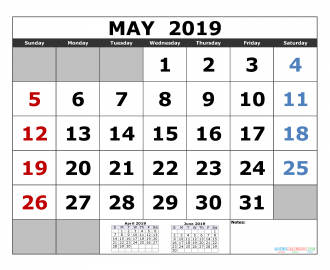 May 2019 Printable Calendar Template April May June 2019 3 Month Calendar Template