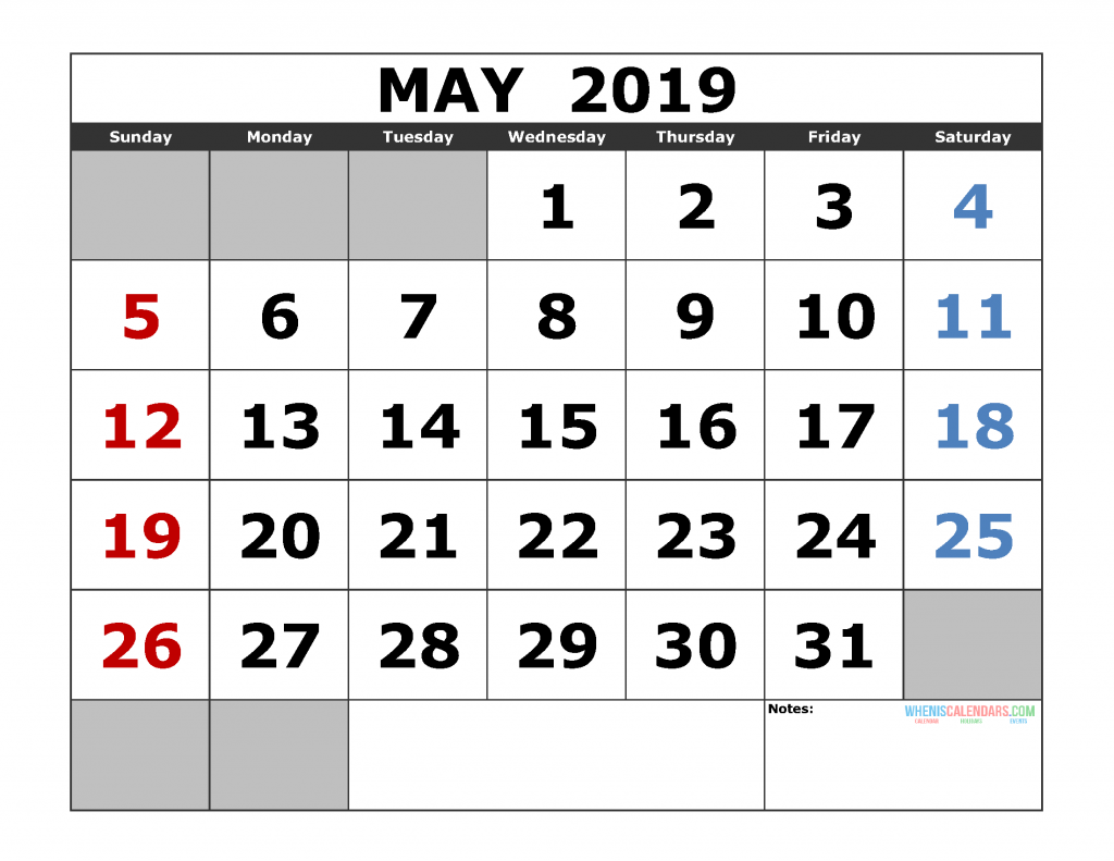 Free May 2019 Printable Calendar Template US. Edition (the first of the week as Sunday)