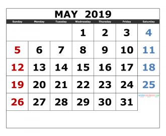 may 2019 Printable Calendar Templates 2019 Monthly Calendar