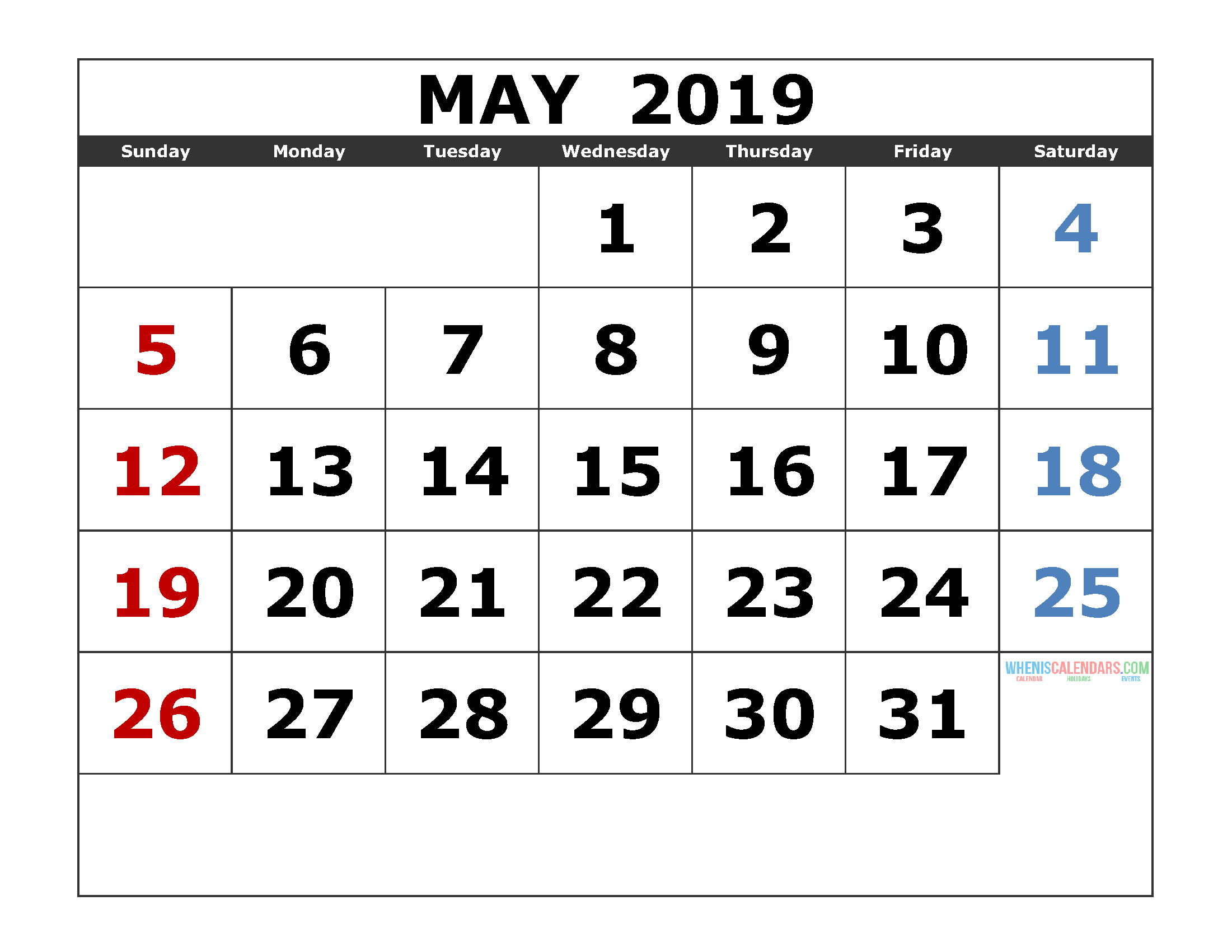 May 2019 Printable Calendar Template Excel, PDF, Image