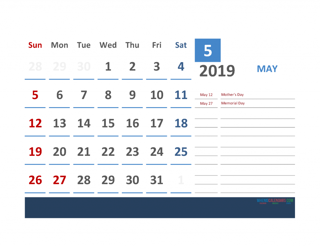 May 2019 Calendar with Holidays Printabe Monthly Calendar PDF, PNG
