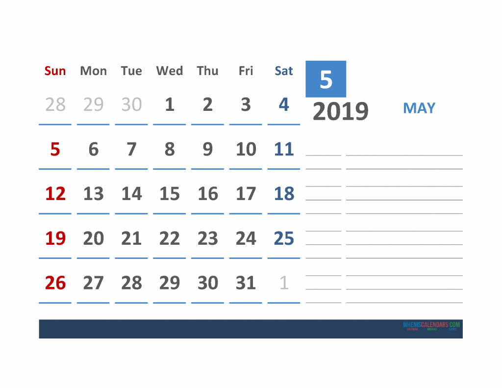 Free May 2019 Calendar Template With Space for Notes