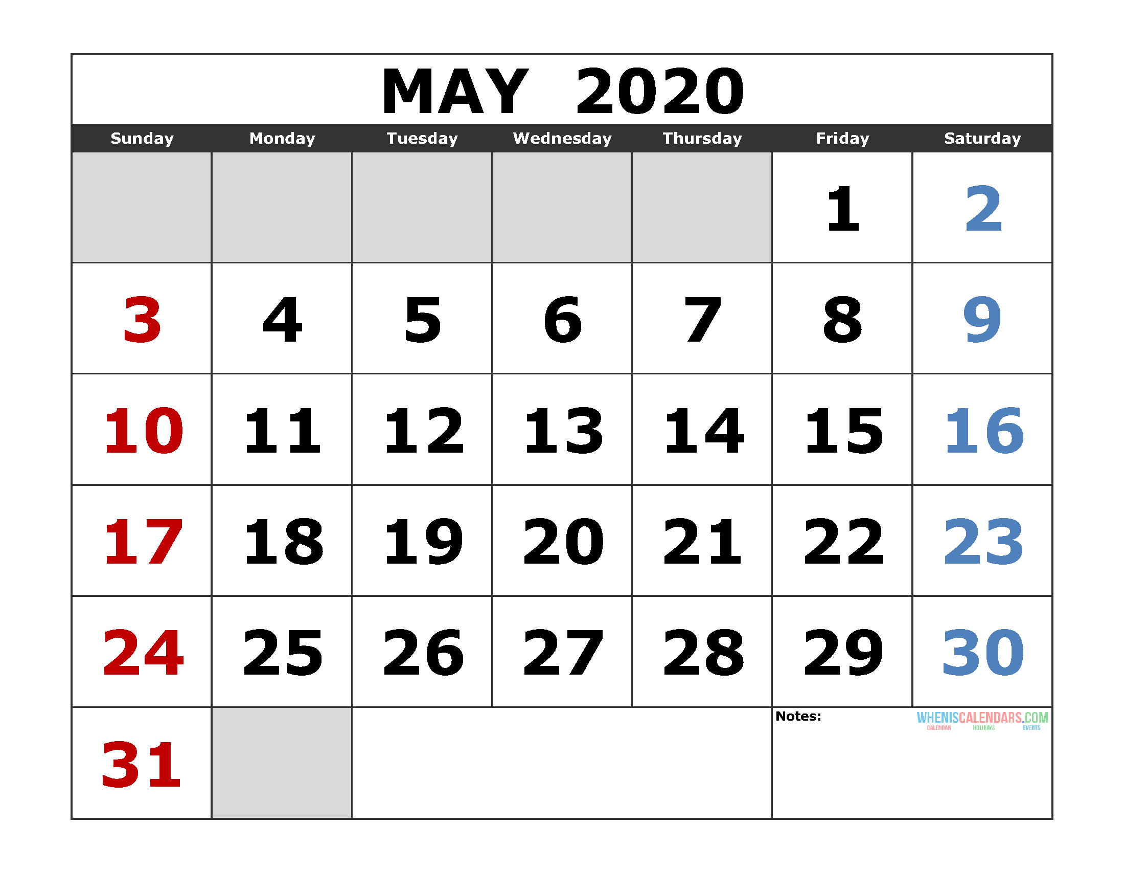 May 2020 Printable Calendar Templates 2020 Monthly Calendar