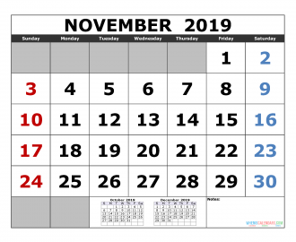 November 2019 Printable Calendar Template October November December 2019 3 Month Calendar Template