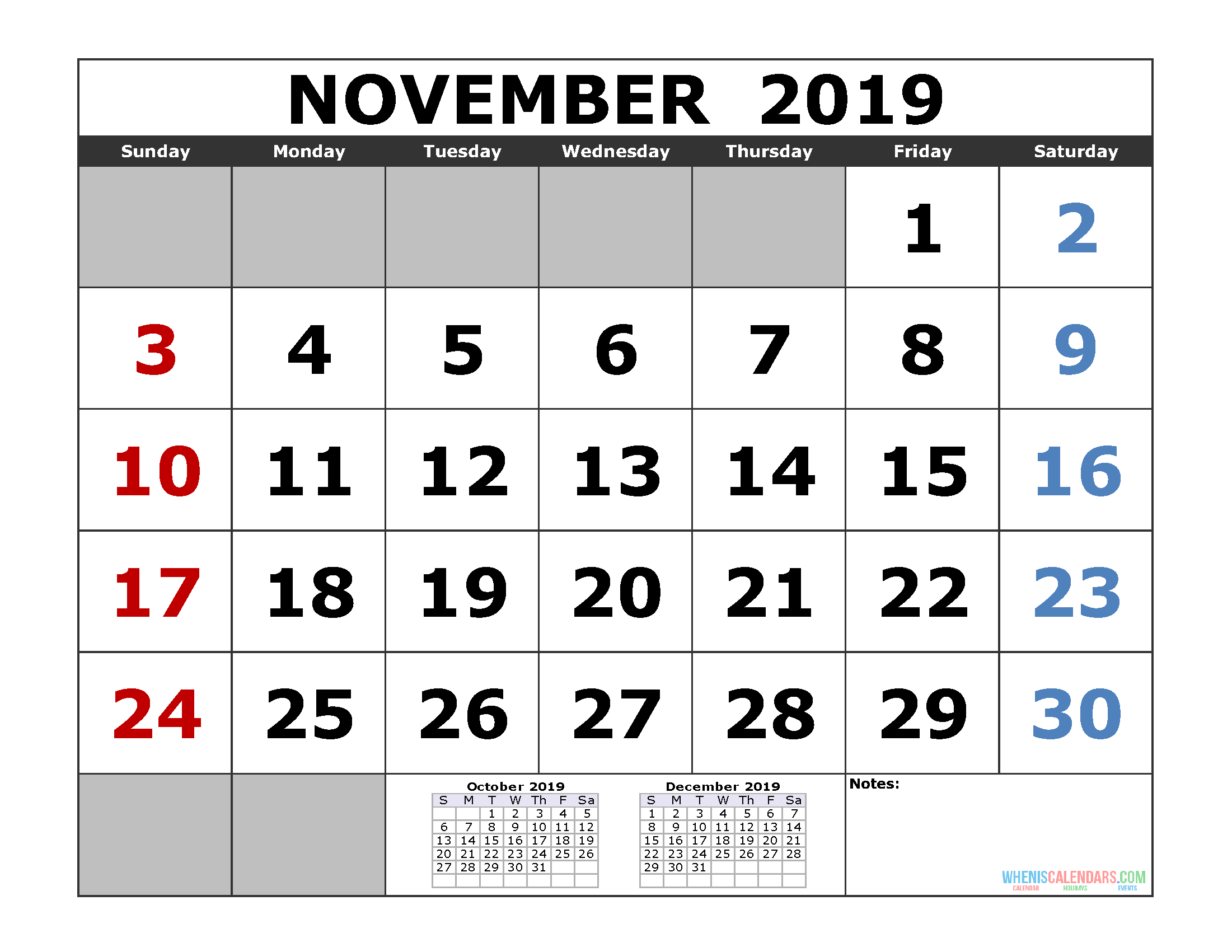 November 2019 Printable Calendar Template (October November December 2019 3 Month Calendar Template)