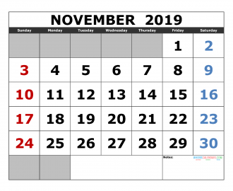 Free November 2019 Printable Calendar Template US. Edition (the first of the week as Sunday)