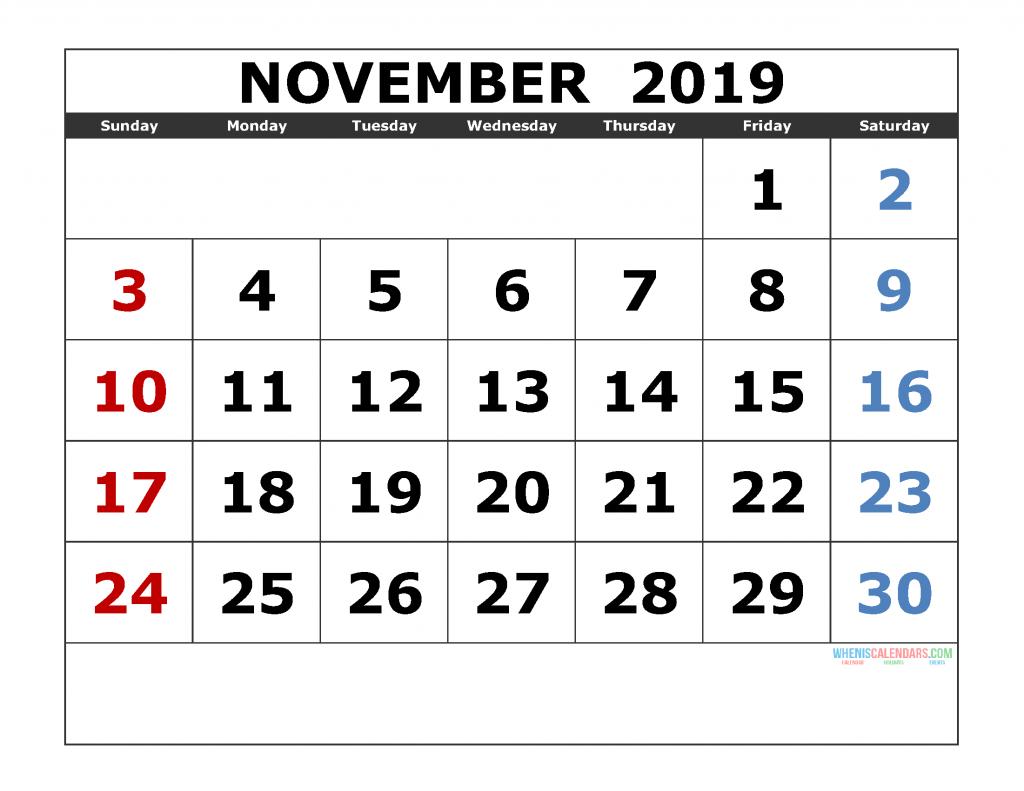 November 2019 Printable Calendar Template Excel, PDF, Image