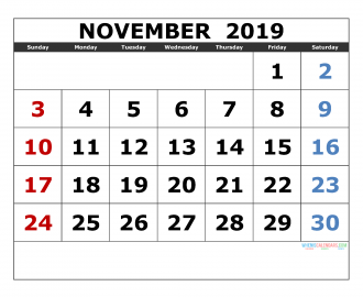 November 2019 Printable Calendar Templates 2019 Monthly Calendar
