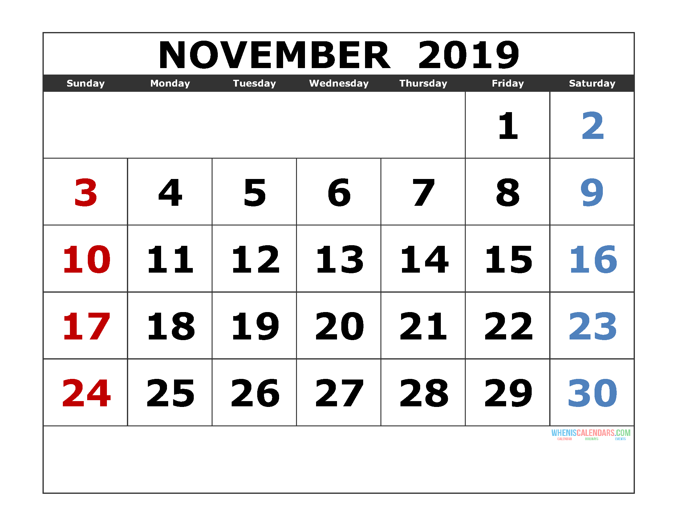 november 2019 printable calendar templates   2019 monthly