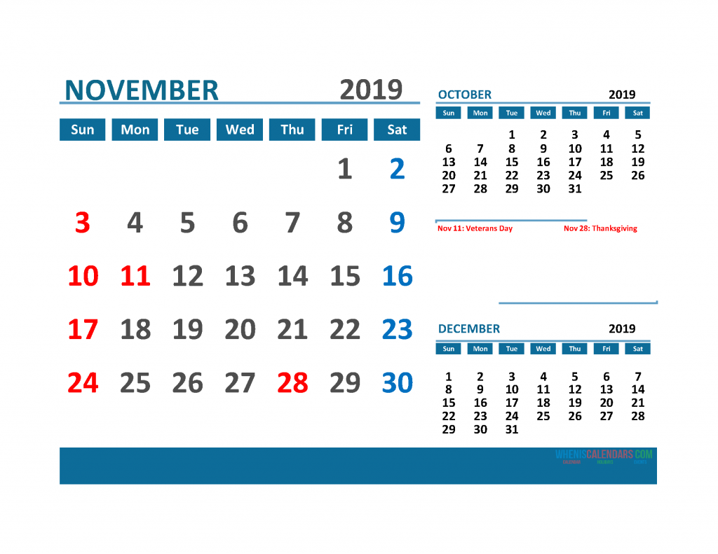 Printable 3 Month Calendar 2019 with Holidays [ October, November, December 2019 Calendar]