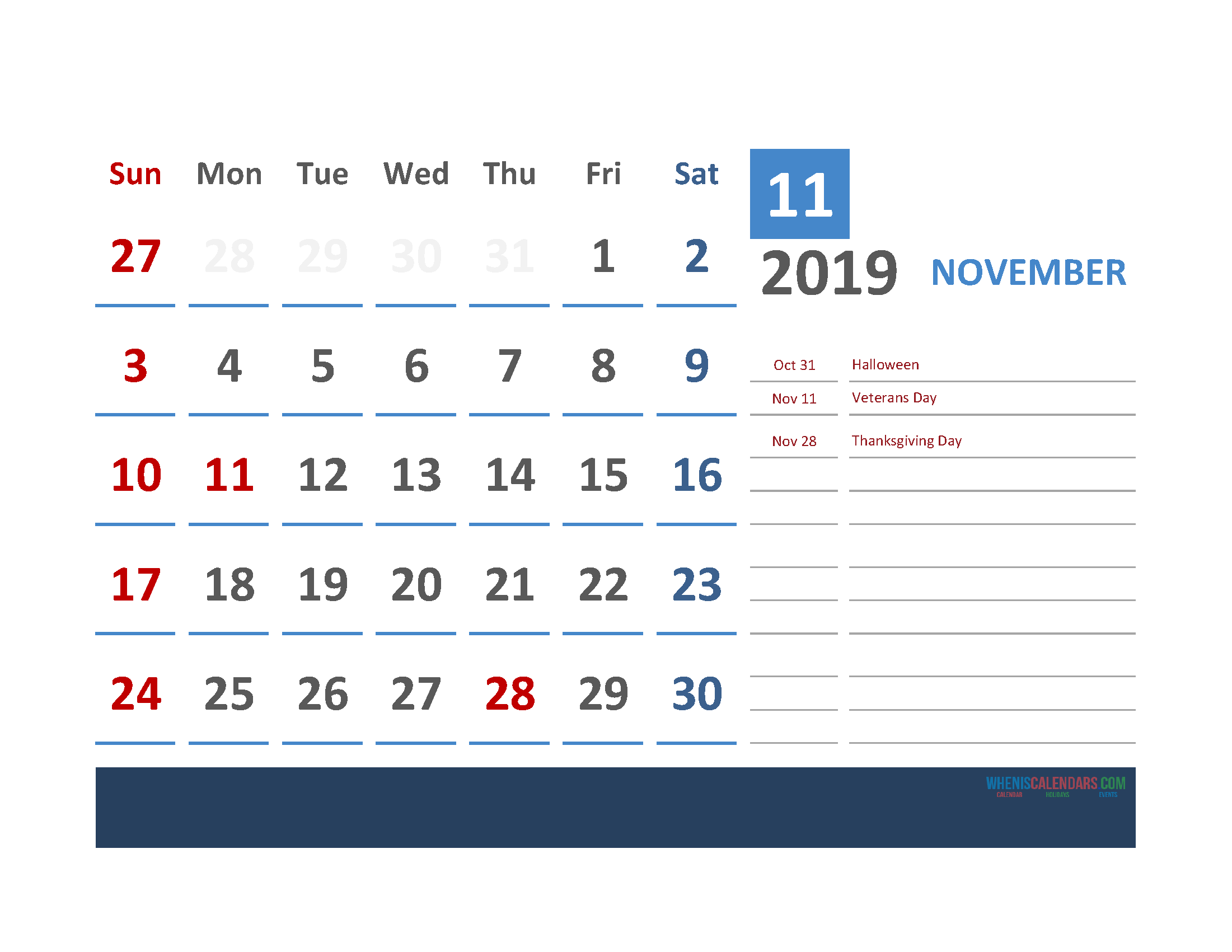 November 2019 Calendar with Holidays Printabe Monthly Calendar PDF, PNG